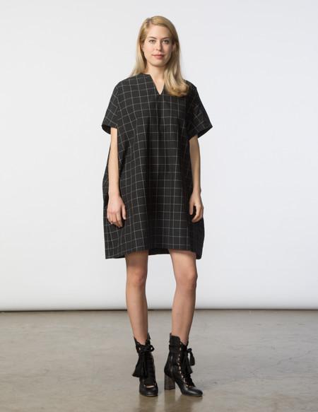 SBJ Austin Mary Dress - Black & White Window Pane