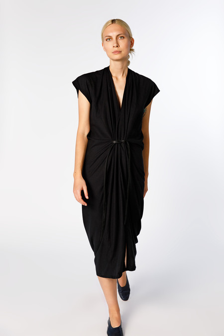Miranda Bennett Knot Dress, Silk Noil in Black