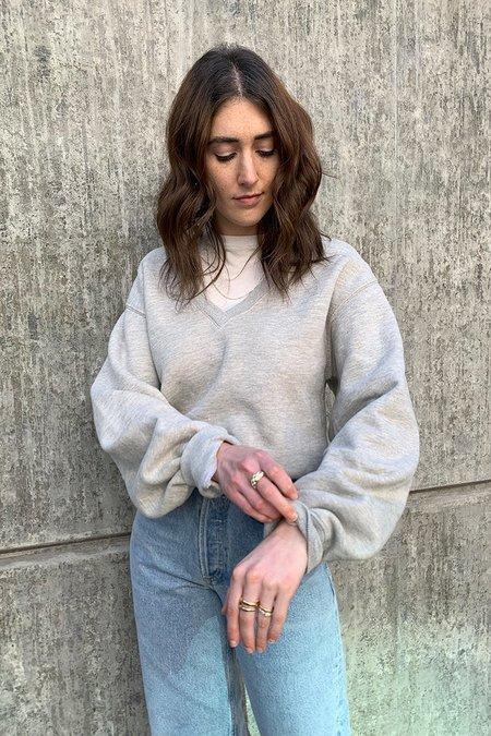 Agolde V-neck Balloon Sleeve Sweatshirt - Grey Heather