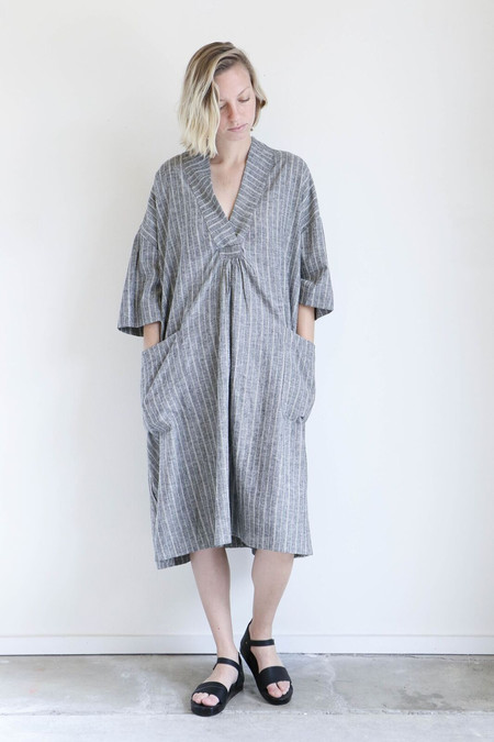 Sunja Link Patch Pocket Dress in Grey Stripe Cotton