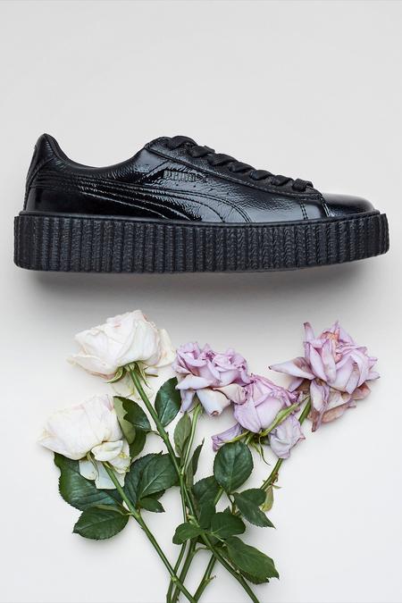 PUMA Rihanna Fenty Wrinkled Patent Creeper- Black