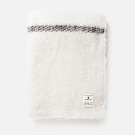 Someware Sabana Wool Throw with Stripes - White