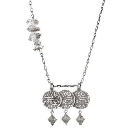 Isobel and Ezra 3 Coin Necklace White Bronze