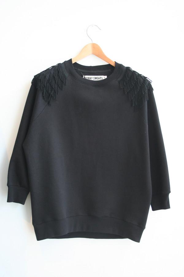 SKINNY SWEATS / OS Sweater short fringe - black