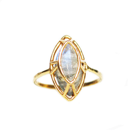 White Feather Designs Marquise Cut Ring Labradorite