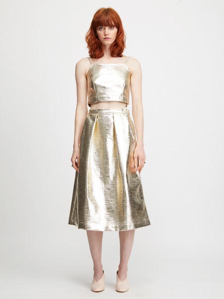 Nikki Chasin Chase Fête Midi Skirt - Platinum