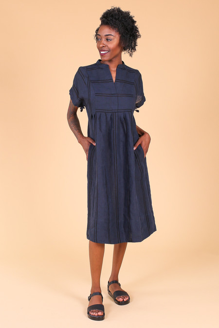 Steven Alan Agnes dress in navy shadow stripe