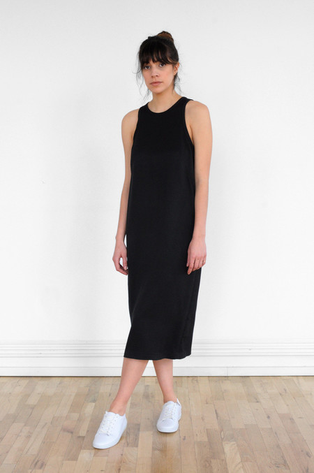 Waltz Studio Sleeveless Racer Dress in Black
