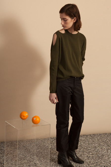Nomia Cut-Out Shoulder Crew Neck Sweater - Olive
