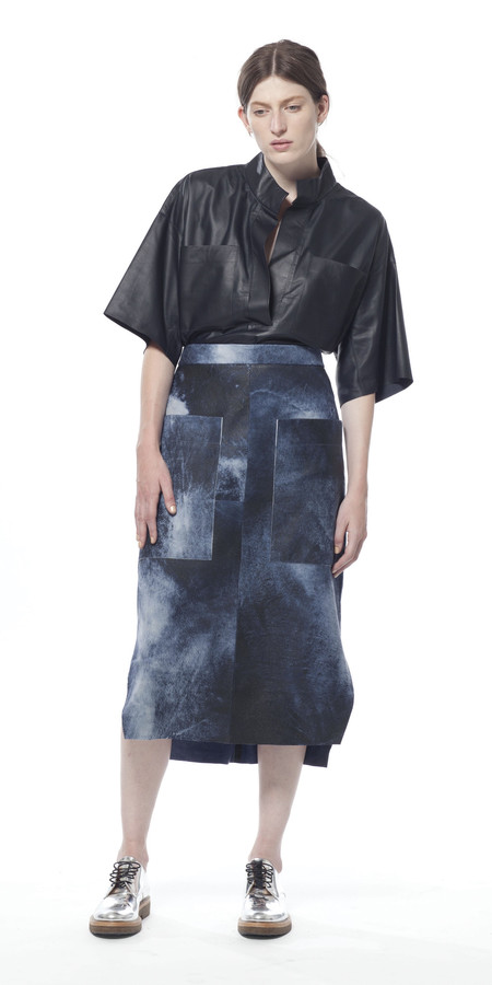 SCHAI Uti Midi Leather Skirt