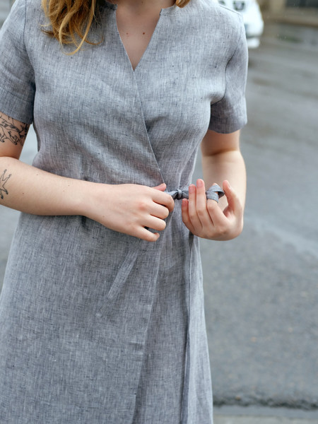 Nikki Chasin LEDA DRESS IN LINEN CHAMBRAY