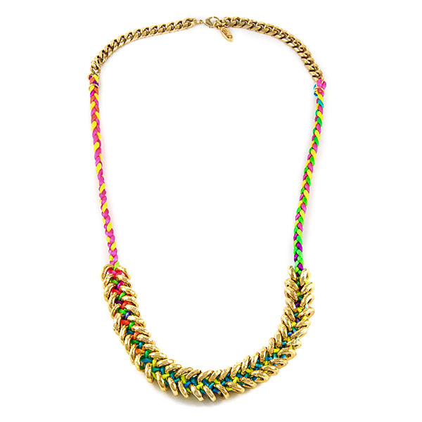 Neon Braided Gold Donut Necklace