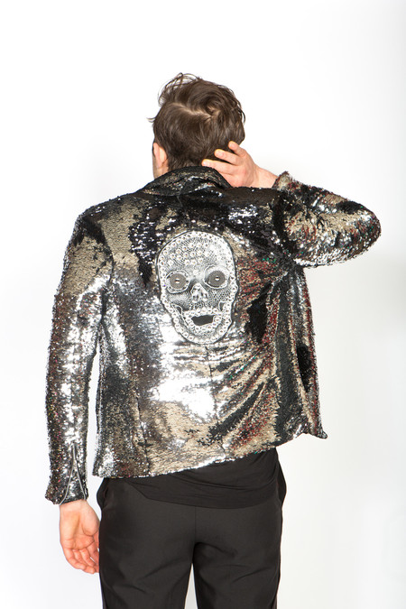 Any Old Iron Skull Moto Jacket - Silver/Black