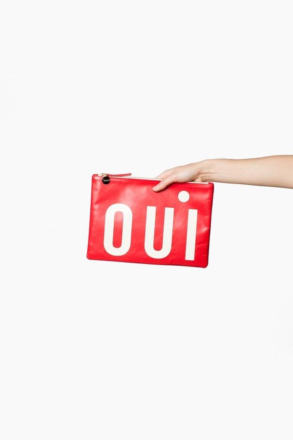 Clare V. Flat Clutch- red oui