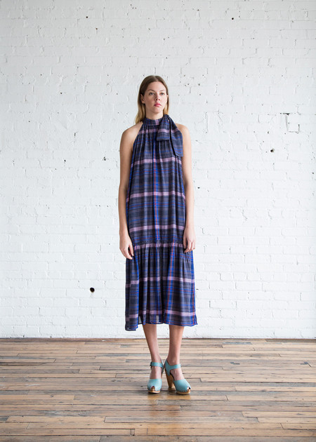 Apiece Apart Solazure Tie Neck Dress Twilight Madras