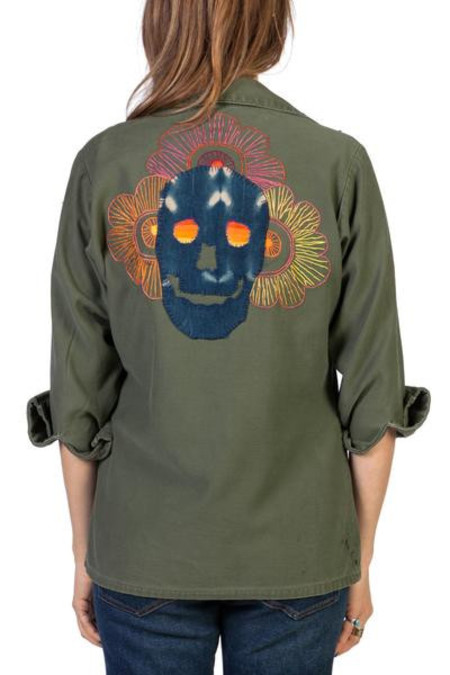 Crawford Embroidered Skull Army Shirt Jacket