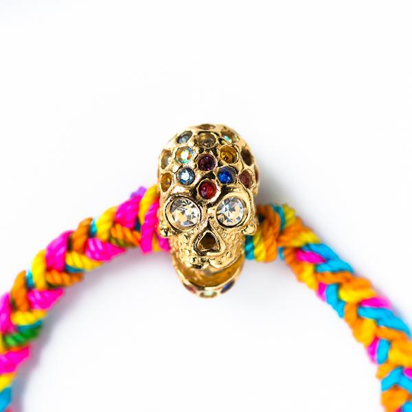 Neon Macrame Skull Bracelet