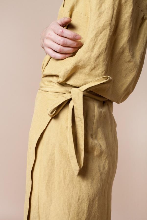 Creatures of Comfort Natasha Dress - silk linen maize