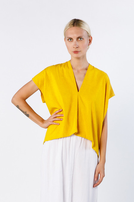 Miranda Bennett  Everyday Top, Cropped, Silk Noil in Marigold