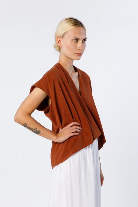 Miranda Bennett Everyday Top, Cropped, Silk Noil in Terracotta