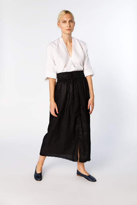 Miranda Bennett Paper Bag Skirt, Linen in Black