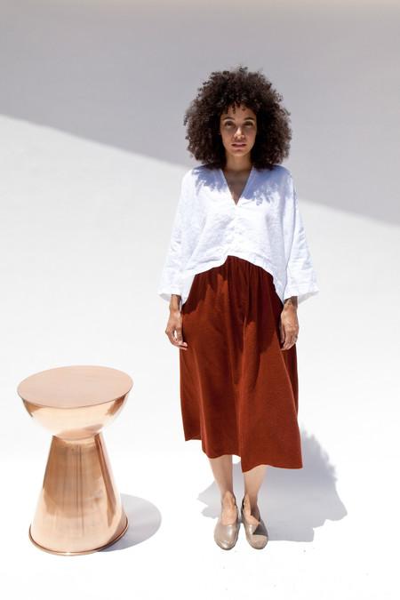 Miranda Bennett  Paper Bag Skirt, Silk Noil in Rust