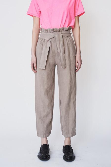 Black Crane Linen Burlap Pant