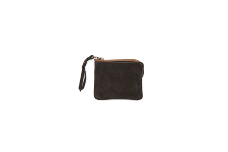 MAPLE HALF ZIP WALLET (SUEDE) - BROWN