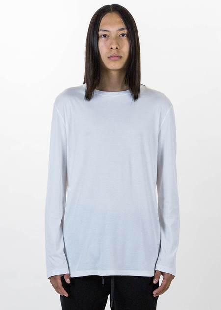Helmut Lang White LS Tee Brushed Jersey