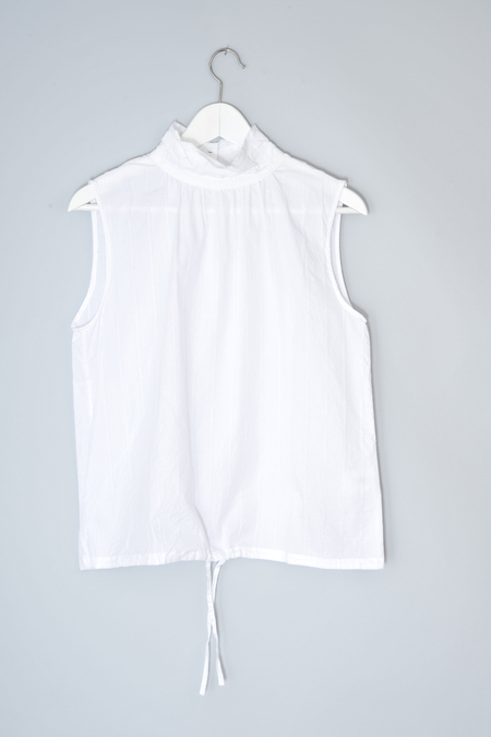 Chimala Off White Giza Sleeveless High Neck Blouse by Chimala
