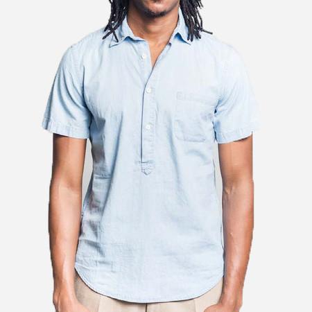 Portuguese Flannel Caue Short-Sleeve Popover Shirt - Light Blue