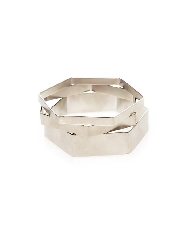 Darios Silver Hexagonal Bangles