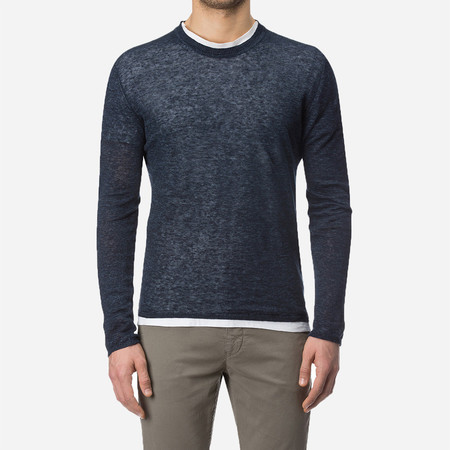 Woolrich John Rich & Bros. Linen Crew Neck Sweater - Dark Navy Melange