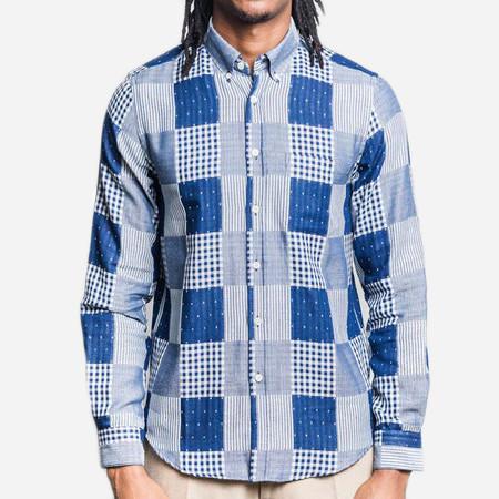 Portuguese Flannel Remendo Long-Sleeve Shirt - Indigo Patchwork