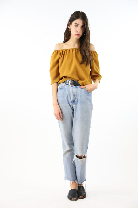 Side Party First Sight Off Shoulder Top - Mustard