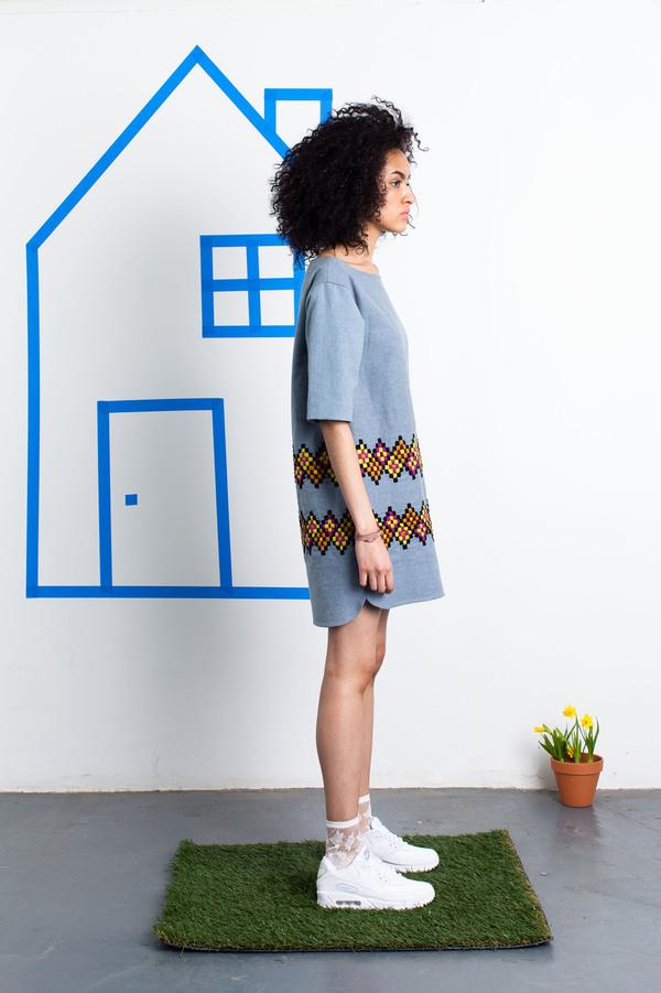 Harare Embroidered Denim Dress