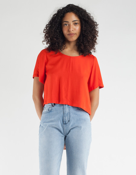 Ali Golden Rayon Woven T-Shirt Poppy