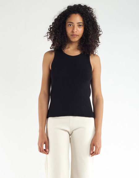 Ali Golden Ribbed Tank Black