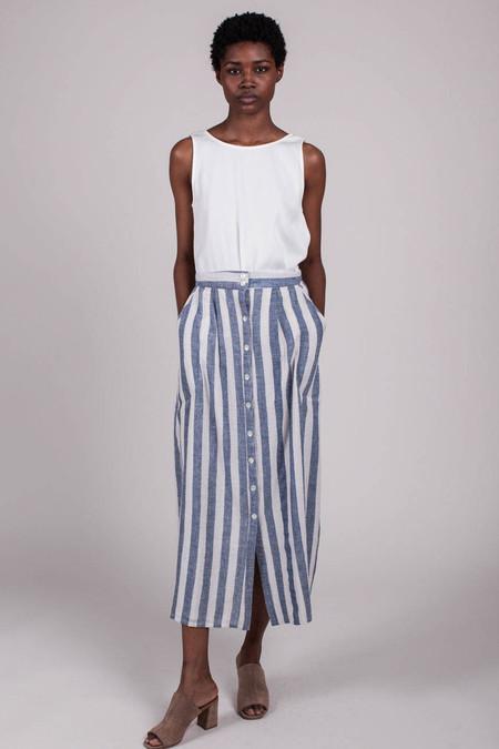Anaak Jessica Button Skirt - Blue White Wide Stripe