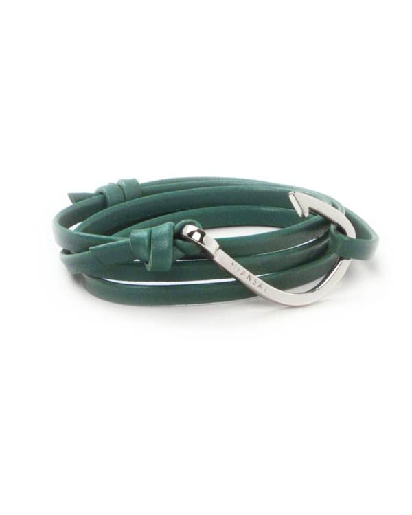 Miansai Silver Fish Hook And Teal Leather Wrap Bracelet