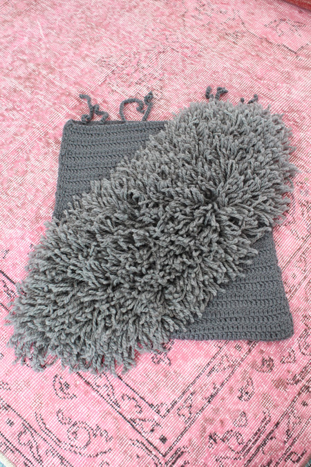 Beklina Alpaca Handmade Alta Fringe Pillow Gravel