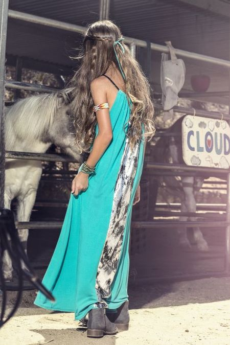 Schnarbles Turquoise Metallic Panel Dress