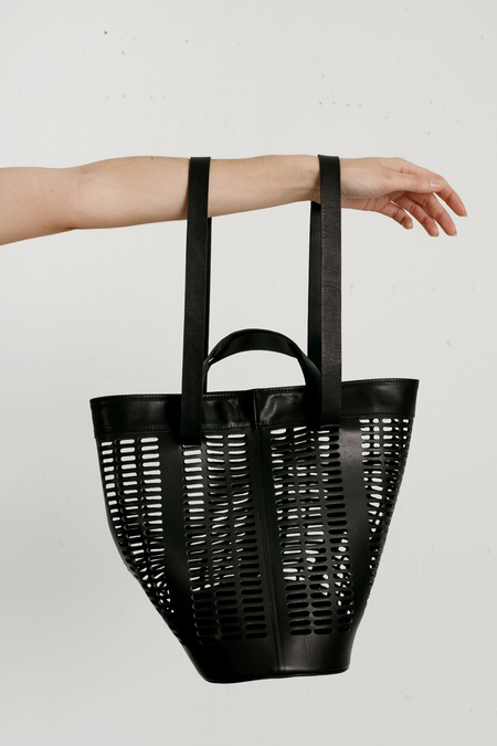 Modern Weaving - Basket Tote - Black