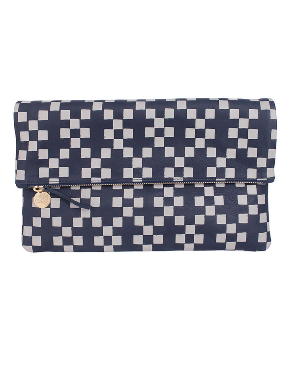 Clare V. Foldover Clutch in Navy Hopscotch Print Leather