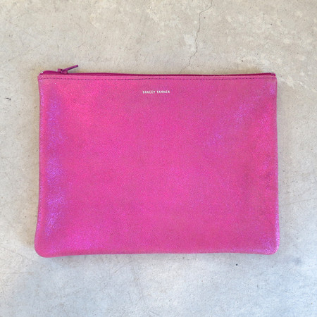 Tracey Tanner Large Flat Zip Pouch in Cotton Candy Sparkle