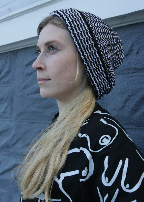 Gravel & Gold Striped Knit Hat - Black and white