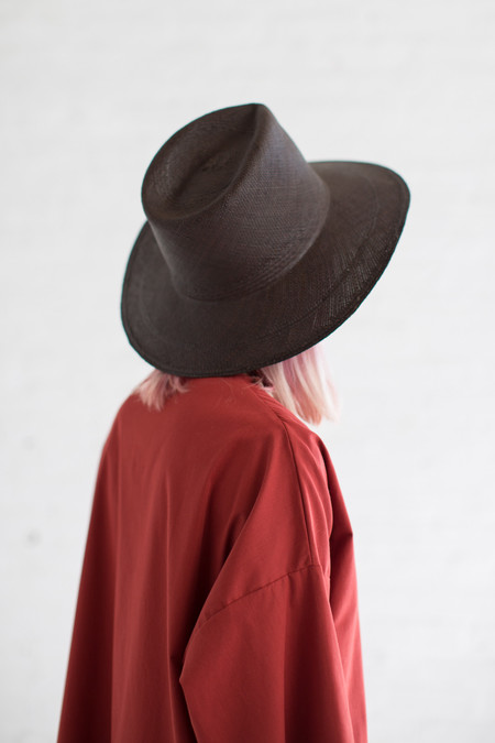 Clyde Wide Brim Pinch Panama Hat in Espresso
