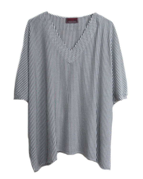 Tienda Ho 82 Top in White with Silver Stripes