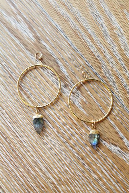 Sheila B Laboradite Hoop Earrings
