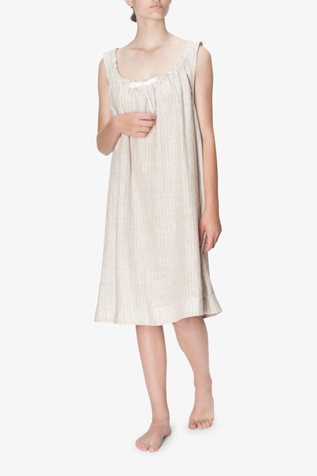 The Sleep Shirt Sleeveless Nightie Tan Tuscan Linen